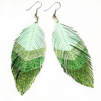 Seafoam Chevron - Green Glitter Faux Leather Feather Earrings