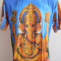 Ganesha Ganesh Meditation Men T Shirt OM Hindu India Blue M L