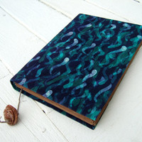 Large notebook, Handmade batik fabric journal, diary,  old paper, 9x6inch, underwater land