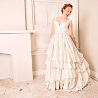 Cypress Eco Wedding Gown, Detachable Underskirt- Short and Long in One
