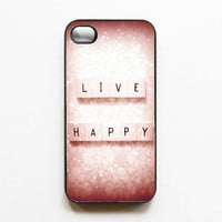 Iphone Case Live Happy Pink Girly Quote by SSCphotographycases