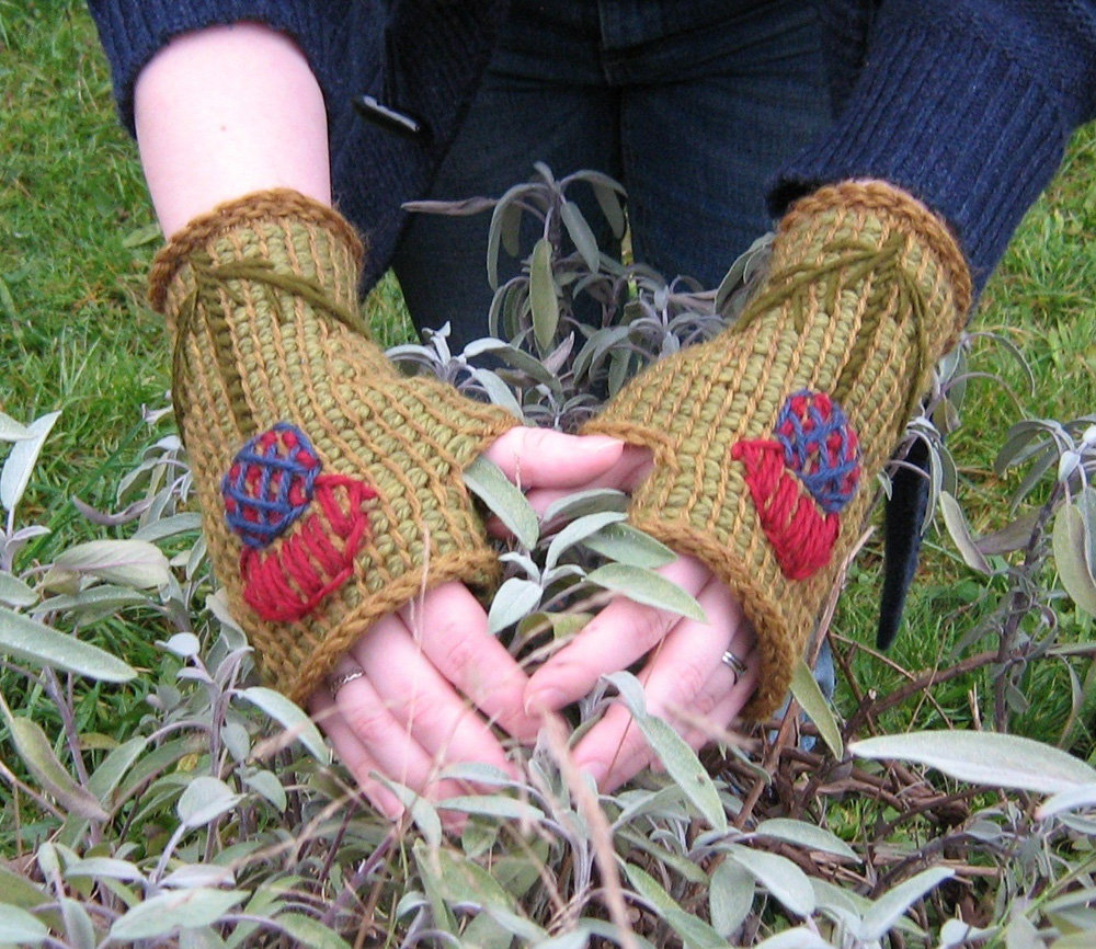 Women's Scottish Thistle Tunisian Crochet Fingerless Gloves, OOAK