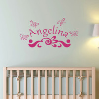 Wall Decal Monogram Personalized Arched Name with Butterflies and Flourish Accent Nursery Wall Art Decor for Girls Room