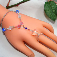 Slave Bracelet Ring Hand Chain Hand Jewelry Flower Blue Pink White Butterfly