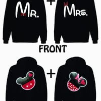 Mr. and Mrs. He's Mine Mickey 2 Hoodie Sweatshirt for couple LOVE VALENTINE GIFT