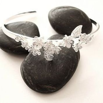 silver hathaway flower spray bangle cuff by summer and silver | notonthehighstreet.com