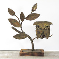 Vintage Metal Owl Sculpture 1960s
