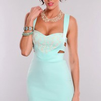 Mint Lace Overlay Strappy Open Back Dress