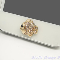 1PC Bling Champine Crystal Plated Gold Fish Apple iPhone Home Button Sticker for iPhone 4,4s,4g, iPhone 5, iPad, Cell Phone Charm