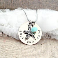 Surf Sun Sand Starfish Pendant Necklace With by jessicajanek