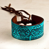 Turquoise Jewelry Cuff Bracelet OOAK by rainwheel on Etsy