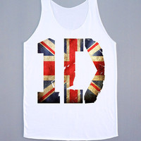 1D Union Jack Shirt One Direction T-Shirt 1D Shirt Pop Rock Tank Top Women Tank Top Tunic Sleeveless White Shirt Vest Women T-Shirt Size M