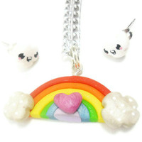 Girls Jewelry Set Kawaii Rainbow Silver Plated Stud by KawaiiBits