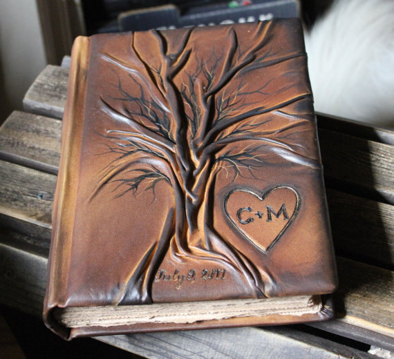 Leather wedding guest book Tree of life 10 1/2 x 7 by crearting