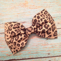 Leopard rockabilly fabric hair bow pinup punk retro
