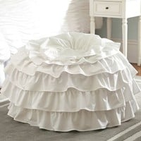 White Ruffle Rings Beanbag