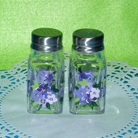 Essenceofthesouth Hydrangea Salt & Pepper Shakers Hand Painted Custom Decorative Purple Hydrangeas