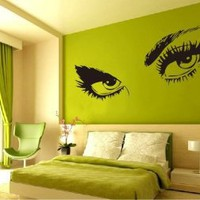 Amazon.com: Large Audrey Hepburn&#x27;s Eyes Vinyl Wall Decal Girl&#x27;s Bedroom /Living room Art Decor Birthday Gift Hotel Ornament - 45&quot; Black: Home &amp; Kitchen