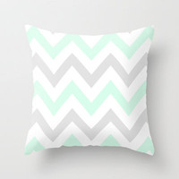 WASHED OUT CHEVRON (MINT &amp; GRAY) Throw Pillow by nataliesales | Society6