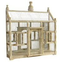 One Kings Lane - Evergreen - Antiqued Mirrored Bird Cage, Cream