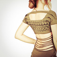 Olive Green Aztec stencil top with layers open back by Shovava