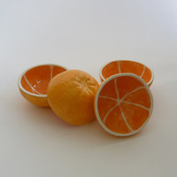 Set of 4 Orange Bowls by vegetabowls on Etsy