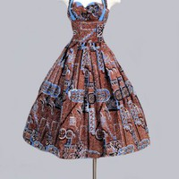 1950's Alfred Shaheen Blue Hawaiian Print Dress - M 1950's Alfred Shaheen Blue Hawaiian Print Dress :