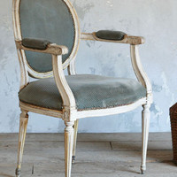 Vintage Louis XVI Style Armchair in White and Blue c1930 - The Bella Cottage