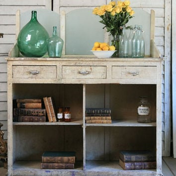 Amazing Vintage Pharmacy Shop Counter with Frosted Glass Panels - $2995 - The Bella Cottage