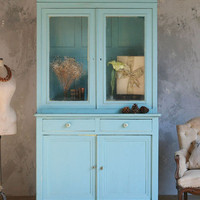 Vintage Display Cabinet in Aqua c1930 - The Bella Cottage