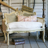 Vintage Louis XV Cane Back Settee in Gold and Cream circa 1940 - The Bella Cottage