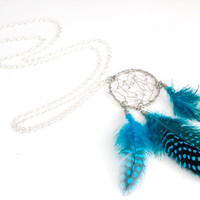 Dream Catcher Necklace with Blue Guinea by floralfireworks on Etsy