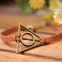 Charm bracelet, Harry potter bracelet,retro bronze Deathly Hallows,brown wax rope bracelet---B044