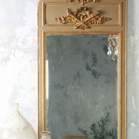 Vintage Napoleon III Trumeau Mirror in Olive Green with Gilt Detail - $2295 - The Bella Cottage