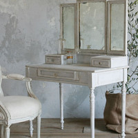 Antique French Vanity with Tri-Folding Mirror in Dove Blue - &amp;#36;2995 - The Bella Cottage