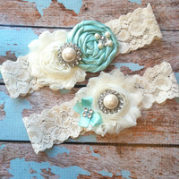 Wedding garter / Tiffany blue /YOU DESIGN by FallenStarCoutureInc