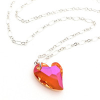 Neon Heart Necklace, Hot Pink Heart Necklace, Sideways Crystal Heart Necklace, Sterling Silver Necklace, Bright Pink Heart, Boho Heart