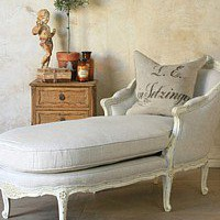 Eloquence Louis Linen Chaise Antique White
