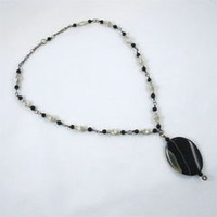 Banded Agate Niobium Necklace with Onyx and Pewter Accents, 18 inch