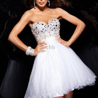 Wholesale 2013 Modest Sweetheart A-line Short Prom Dress Beading Tulle Sleeveless Cocktail Gown 11355, Free shipping, $100.8-123.2/Piece | DHgate