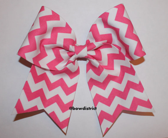 3 Quot Pink And White Chevron Cheer Bow From Bowdistrict On Etsy