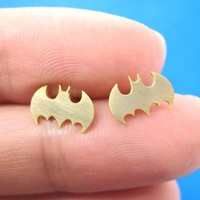 Batman Logo Bat Symbol Stud Earrings in Gold with Sterling Silver Post
