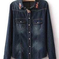 Wooden Button Collar Denim Shirt S010099