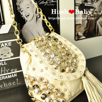 Multi-buckle tassel rhinestone shoulder bag &amp;Messenger bag &amp;backpack