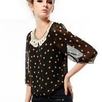 Dot Lace Stitching Short Sleeved Shirt S010082