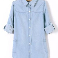 Denim Loose Long Sleeved Shirt S010085