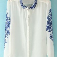 White Printing Lapel Shirt S010136