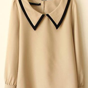 Beige Lapel Loose Long Sleeved Shirt S010116