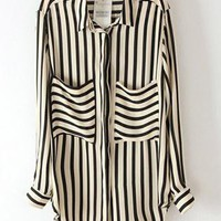 Stripes Loose Irregular Hem Shirt S010143