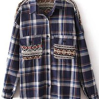 Snowflake Knit Stitching Double Pocket Plaid Shirt S010160